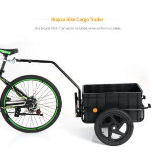 Bike Cargo Trailer Hand Wagon Bicycle Cargo Luggage Storage Trailer Cart w/ Removable Transportation Box & Rain Cover