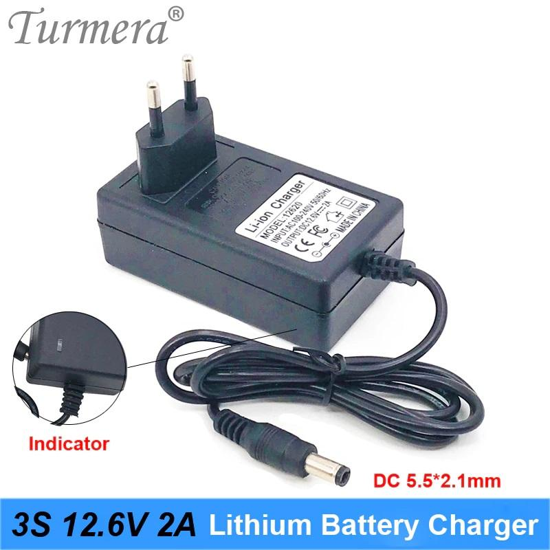 ΦΟΡΤΙΣΤΗΣ Turmera 12V 12.6V 2A Charger for Lithium Battery DC 5.5mm*2.1mm for 3S 18650 Battery Pack for Screwdriver Battery with Indicator